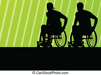 Active disabled man on a wheelchair detailed sport concept silhouette illustration background vector