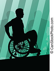 Active disabled men in a wheelchair detailed sport concept...