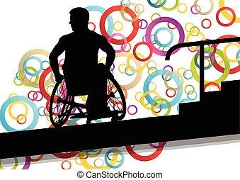 Active disabled men in a wheelchair medical health concept...