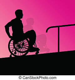 Active disabled young men on a wheelchair detailed health ...