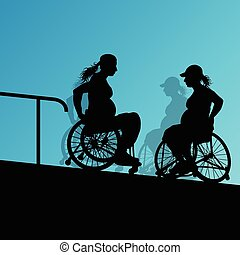 Active disabled young pregnant women in a wheelchair detailed he