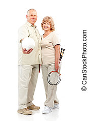 Active  elderly couple
