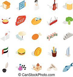 Active entertainment icons set, isometric style