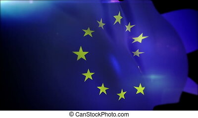 """Active European Union Banner Flappering"" - ""Energetic 3d..."