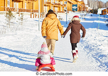 Active family on winter weekend