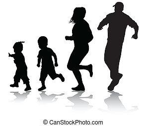 Active family silhouettes