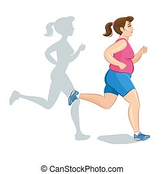 Active fat young jogging woman, loss weight cardio training. Vector illustration.