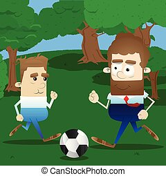 Active father play soccer in his leisure time with his son....