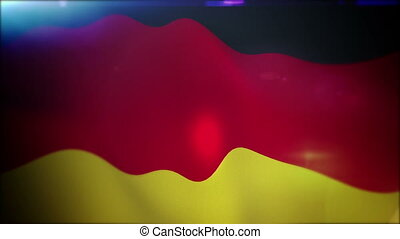 """Active German Flag in Blue Backdrop"""