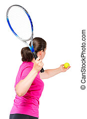 Active girl playing tennis, shooting in the studio on a white background