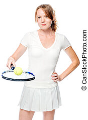 Active girl with tennis racket posing on white background