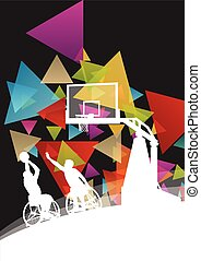 Active healthy disabled men basketball players in a wheelchair detailed sport concept silhouette illustration background