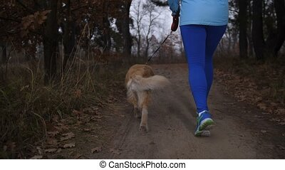 Active healthy girl running outdoors with her dog - Rear...