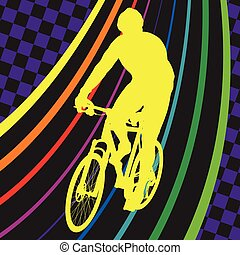 Active healthy men cyclists bicycle riders in abstract sport landscape background illustration