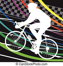 Active healthy men cyclists bicycle riders in abstract sport...