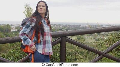 Active healthy young woman enjoying nature