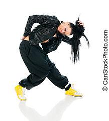 Active hip-hop dancer on white - Cool active female hip-hop ...
