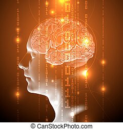 The Blue Concept of Active Human Brain with Binary Code Stream. Abstract Human Brain with Binary Digits. Vector Illustration.