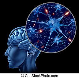 Active Human Neurons - Human brain medical symbol ...