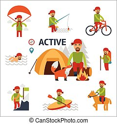 Active infographic elements. Man relaxing by fire in forest with wild animal - a fox. Man with a backpack in the campaign, ascends the mountain, swim in a kayak, fishing, riding a bicycle vector flat