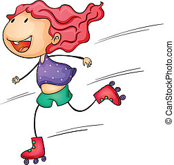 Active kid - Illustration of a roller girl