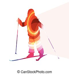 Active kid skiing silhouette illustration background colorful concept