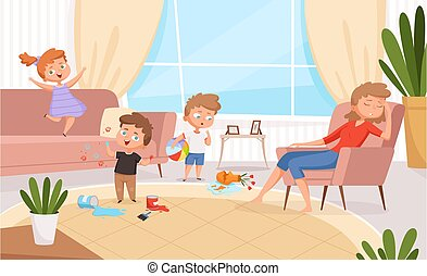 Active kids. Games in living room hyperactive messy kids playing and making troubles on sofa angry parents vector cartoon characters