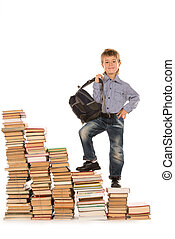active lad - A boy climbing the stairs of books. Education. ...