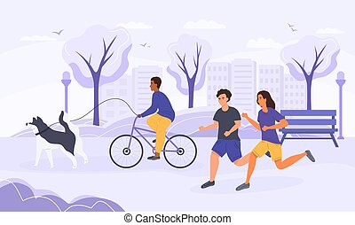 Active life concept with joggers and cyclist