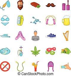 Active life icons set, cartoon style