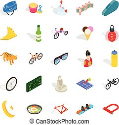 Active life icons set, isometric style