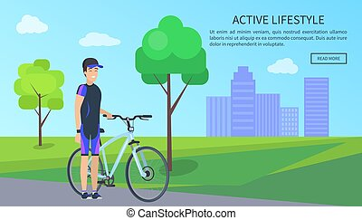 Active Lifestyle, Bicyclist Vector Illustration