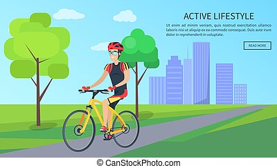 Active Lifestyle Bicyclist Vector Illustration
