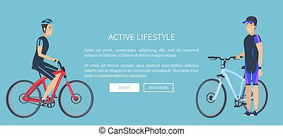 Active Lifestyle Bicyclists Vector Illustration
