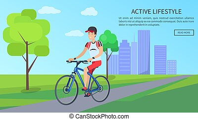 Active Lifestyle Bright Poster Vector Illustration