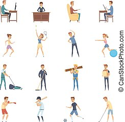 Active Lifestyle Character Icons - Physical activity and...