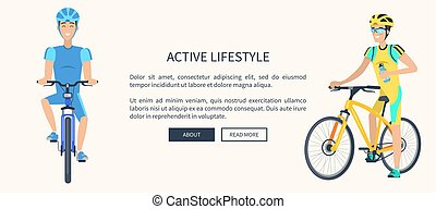 Active Lifestyle Cyclists Text Vector Illustration
