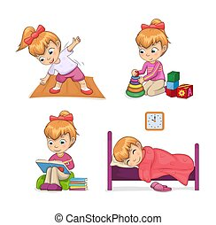 Active Lifestyle of Girl Set Vector Illustration