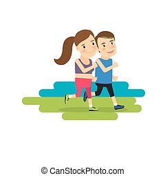 Active lifestyle running boy and girl