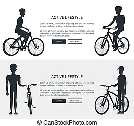 Active Lifestyle Silhouettes Vector Illustration