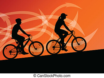 Active man and woman cyclists bicycle riders in abstract arrow line landscape background illustration vector