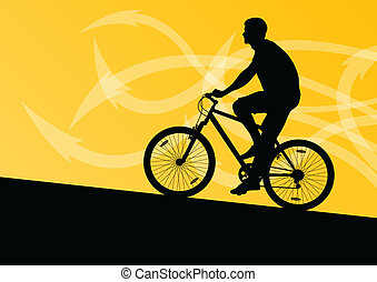 Active man cyclist bicycle rider in abstract arrow line landscape background illustration vector