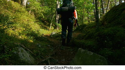 Active man with large backpack walking at steep mountain...