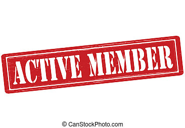Active member - Stamp with text active member inside, vector...