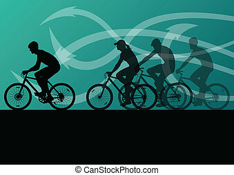 Active men cyclists bicycle riders in abstract arrow line...