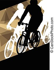 Active men cyclists bicycle riders in abstract sport...
