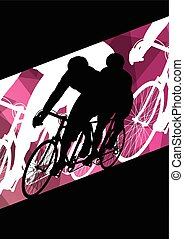 Active men cyclists bicycle riders in abstract sport landscape background illustration