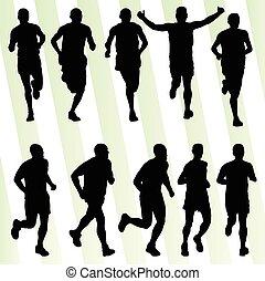 Active men runner sport athletics running silhouettes...