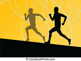 Active men runner sport athletics running silhouettes illustration background vector