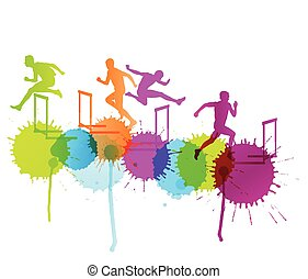 Active men sport athletics hurdles barrier running silhouettes illustration background vector concept